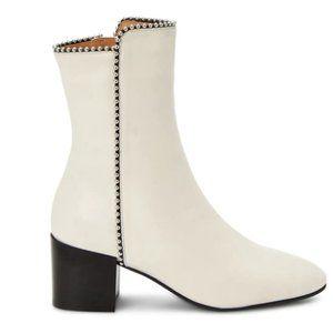 Aquatalia Faustina Bead-Trim Leather Ankle Boots 8
